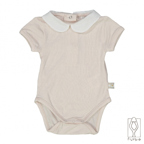 Baby bodysuit in organic cotton rounded collar