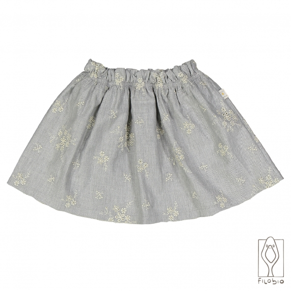 Baby skirt in embroidered cotton flannel