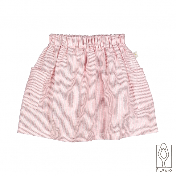 bay girl skirt in pure linen with pocket
