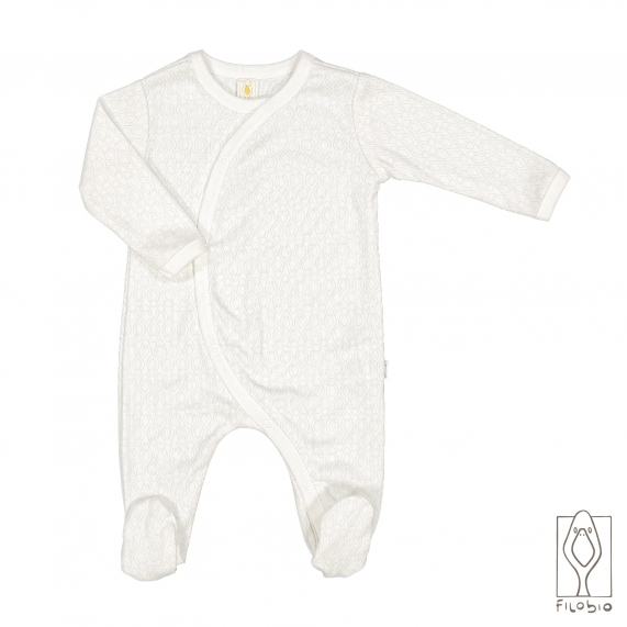 Baby girl footed onesie in organic cotton
